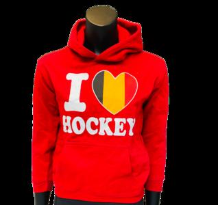 Hoodie Kids Rood I love Hockey Belgie